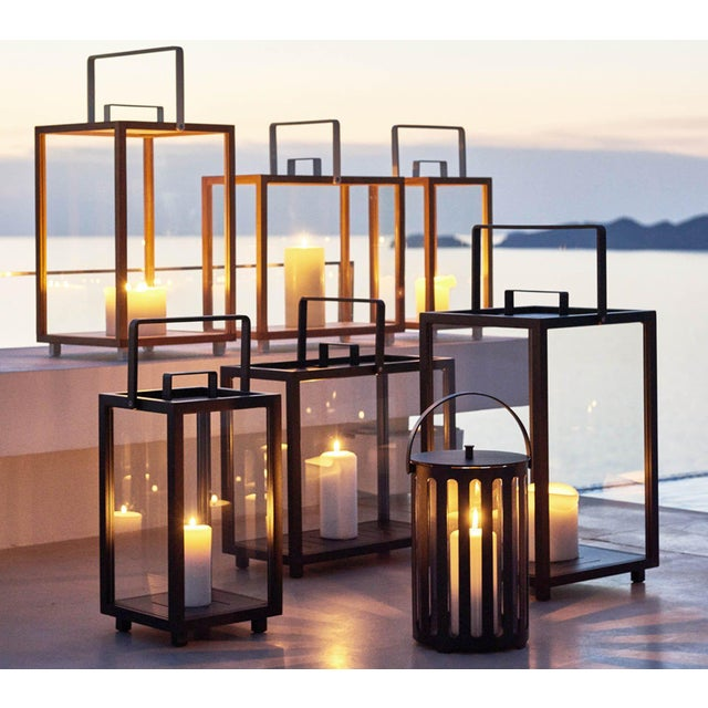 Cane-Line Lighthouse Lantern, Small, Teak and Lava Gray For Sale - Image 4 of 5