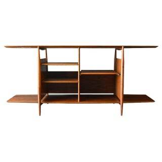Floating Walnut Bookcase or Media Cabinet, Circa 1965 For Sale