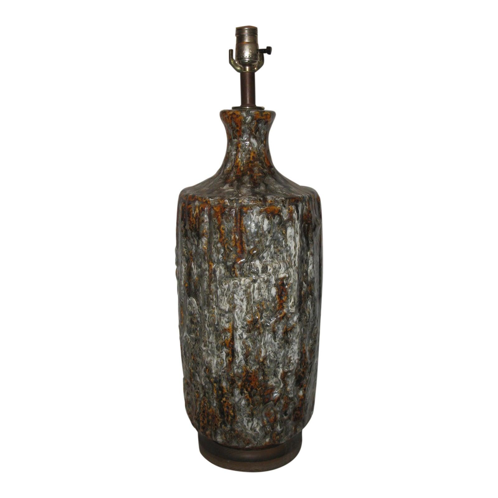 Ceramic Drip Glaze Vintage Mid Century Modern Table Lamp Chairish