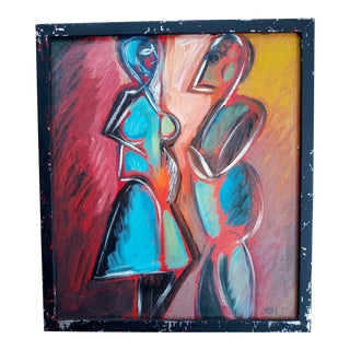 Mid 20th Century Portrait of Male and Female Cubist Style Oil Painting, Framed For Sale