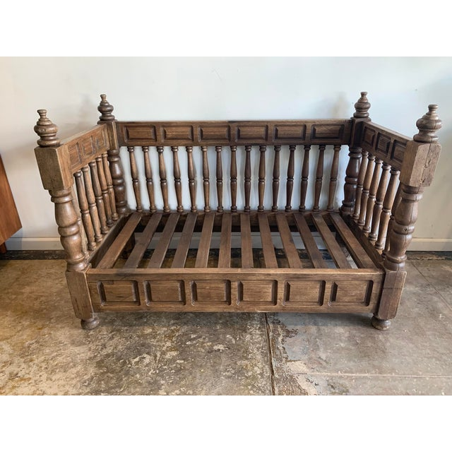 Brown Early 20th Century European Wood Daybed Frame For Sale - Image 8 of 8