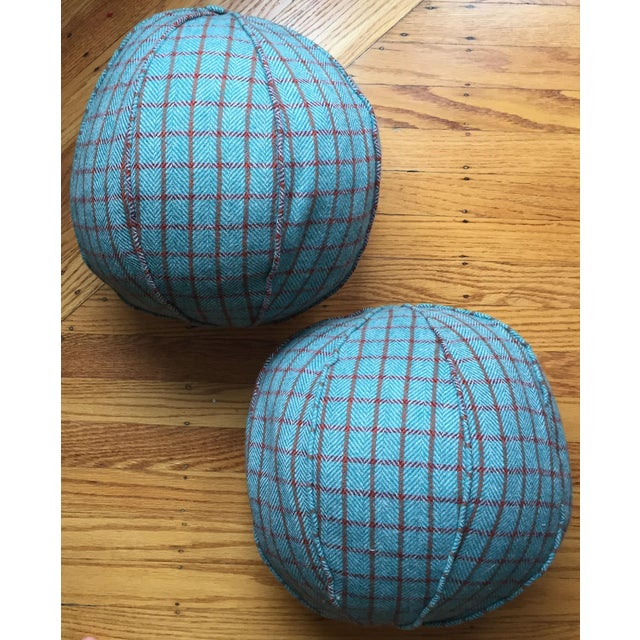 Contemporary Round Holland & Sherry Wool & Down Feather Pillows- A Pair For Sale - Image 3 of 3