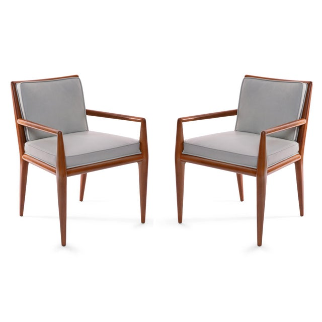 Wood T.H. Robsjohn-Gibbings Widdicomb Walnut Leather Armchairs - A Pair For Sale - Image 7 of 7