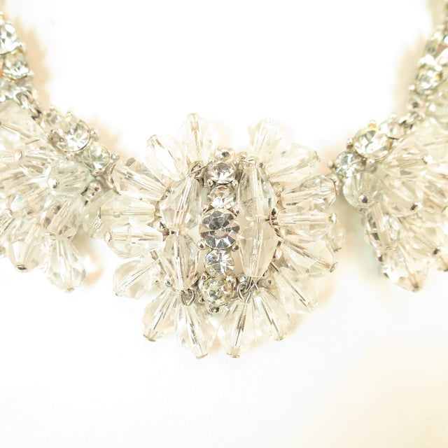 Mid-Century Modern Mid-Century Hand-Made Austrian Crystal Cluster Necklace Suite 1950 For Sale - Image 3 of 13