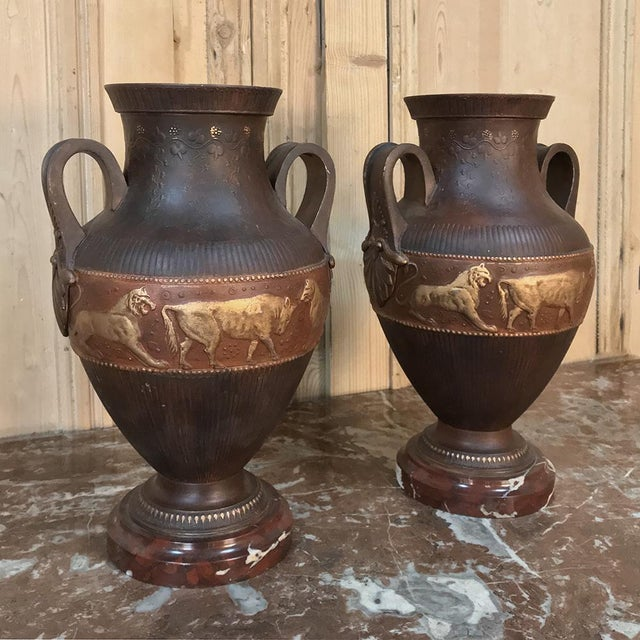 Vases, Art Deco Period in Grecian Style, in Painted Spelter on Marble Bases - a Pair For Sale - Image 4 of 13