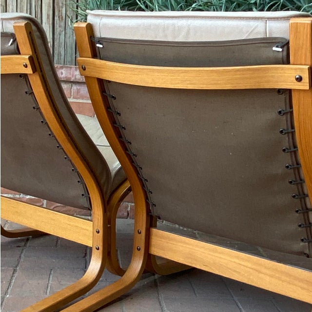 Vintage Westnofa Ingmar Relling Design Leather & Bent Wood Lounge Chairs - a Pair For Sale - Image 9 of 13