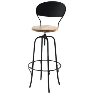New Industrial Wrought Iron Shop Stool With Wood Seat and Back For Sale