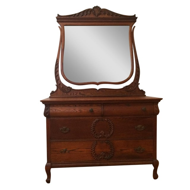 Antique Dresser with Mirror - Image 1 of 4