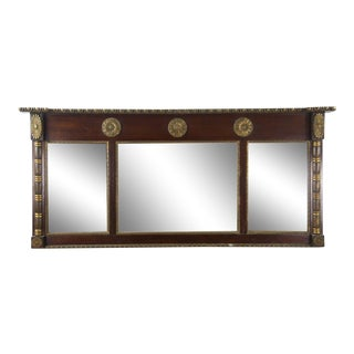 Antique Regency Mahogany and Giltwood Mantel Mirror For Sale