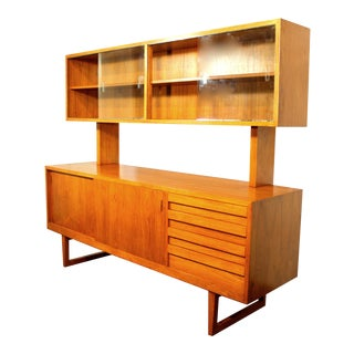 1960s Danish Modern Teak Sideboard With Upper Cabinet For Sale