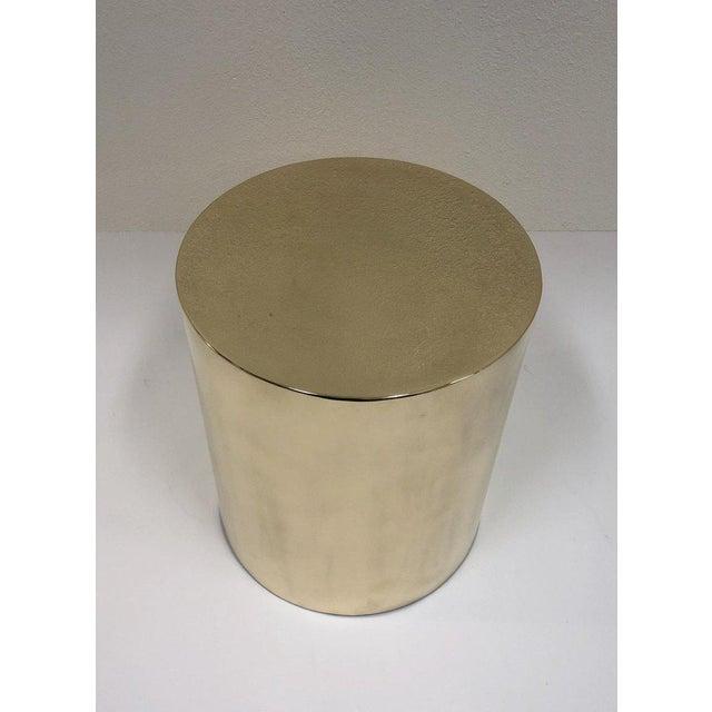 Brueton Polish Brass Drum Table by Brueton For Sale - Image 4 of 8