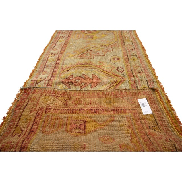 Late 19th Century Late 19th Century Antique Wagireh Turkish Oushak Hallway Runner Rug - 2′ × 8′10″ For Sale - Image 5 of 8