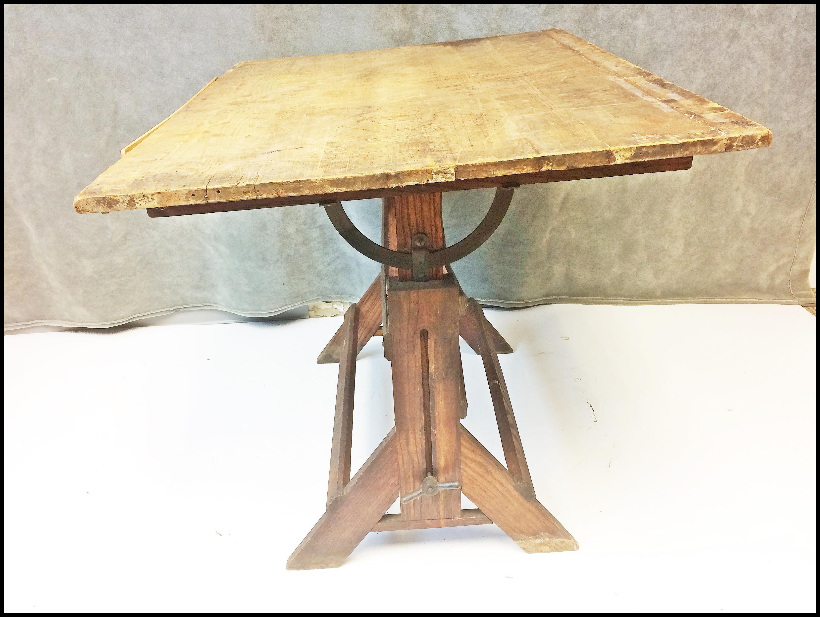 Vintage Industrial Tilting Wood Drafting Table   Image 3 Of 11