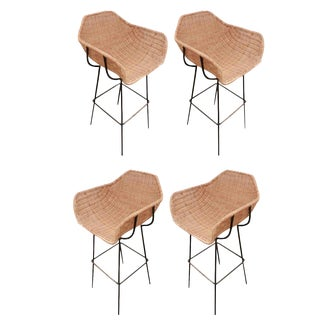 Charles Ramos Set of 4 Mid-Century Bar Stools France Circa 1960 For Sale
