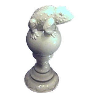 White Porcelain Frog on Pedestal Figurine For Sale
