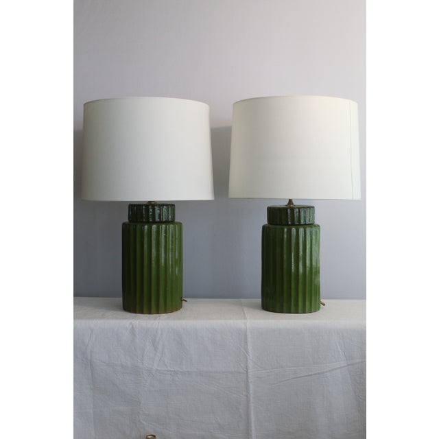 Transitional Style Ceramic Table Lamps - a Pair For Sale In Miami - Image 6 of 10
