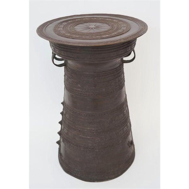 Vintage Burmese Rain Drum in Bronze - Side Table or Drinks Table For Sale - Image 11 of 11