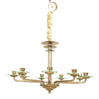 French Art Modern Steel Disc Chandelier For Sale