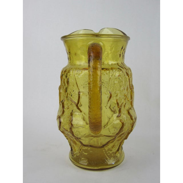 Boho Chic 1970s Vintage Yellow Rainflower Anchor Hocking Pitcher For Sale - Image 3 of 6