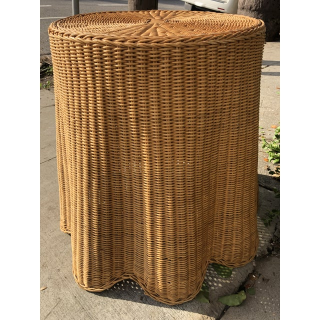 Rattan 1970s Mid-Century Modern Trompe l'Oeil Rattan Ghost Side Table For Sale - Image 7 of 7