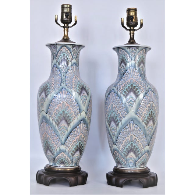 Vintage Peacock Phoenix Bird Feather Ceramic Porcelain Chinese Table Lamps -Pair- Asian Mid Century Modern Boho Chic Tropical Coastal Palm Beach Qing For Sale - Image 13 of 13