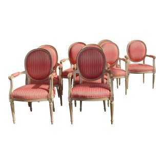 Upholstered Carved Wood Dining Chairs - Set of 8
