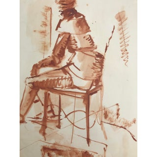 1950s Figurative Painting of Figure Study by Robert Colborne For Sale