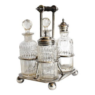 Victorian Condiment Cruet Caddy Set - 5 Piece Set For Sale