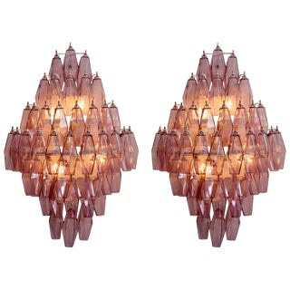 1/2 Pair of Amethyst Polyhedral Glass Sconces Wall Lamps in the Manner of Venini For Sale