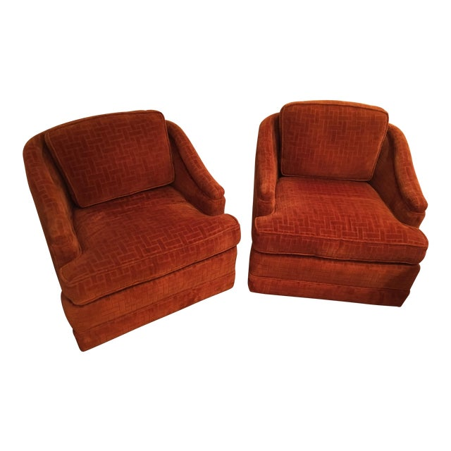 Mid-Century Barrel Swivel Chairs - A Pair - Image 1 of 8