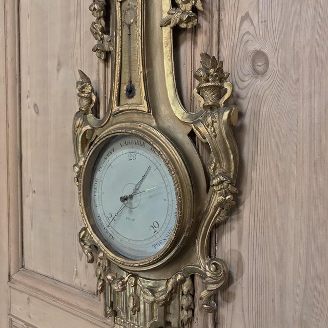 Gold 18th Century Giltwood Hand Carved Barometer - Thermometer For Sale - Image 8 of 11