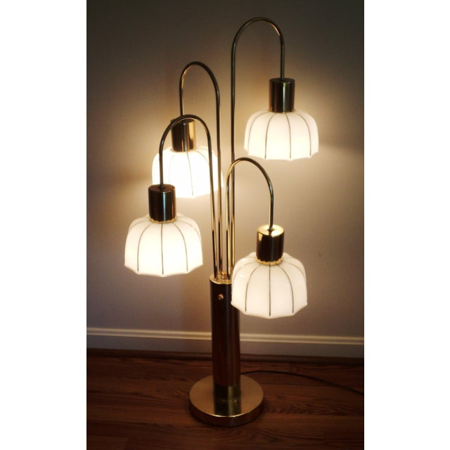Hollywood Regency Brass & Glass Arc Table Lamp - Image 5 of 8