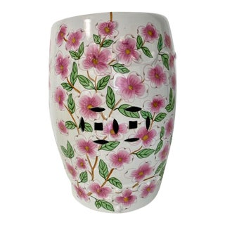Vintage Hand Painted Pink and Green Floral Garden Stool For Sale