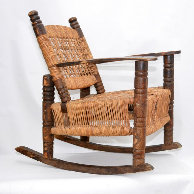 Antique Children's Wood & Wicker Seagrass Armchair Rocker For Sale - Image 13 of 13
