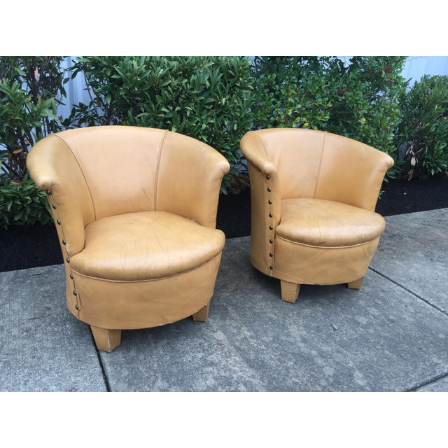 Contemporary Vintage Spanish Barrel Back Leather Chairs- a Pair For Sale - Image 3 of 13