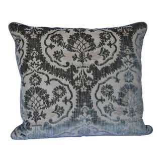 Scalamandre Green and Taupe Damask 100% Silk Cut Velvet Pillow For Sale