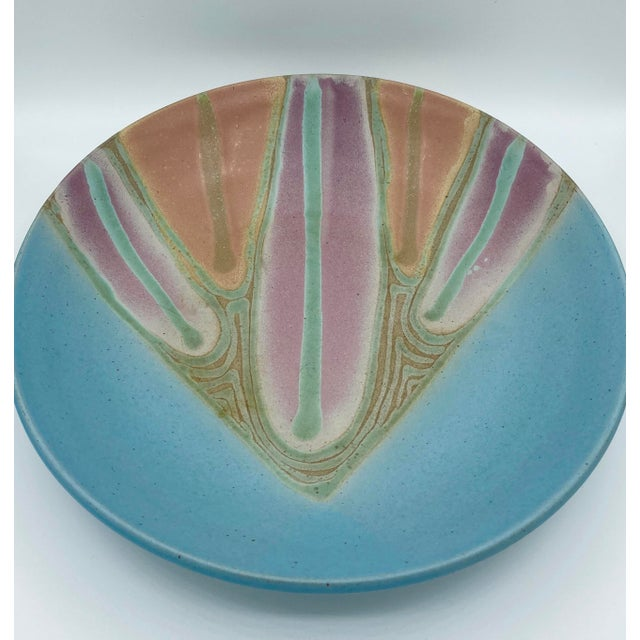 Beautiful signed studio pottery platter. Large Nd colorful. Signed on back. Acquired from a Miami estate.