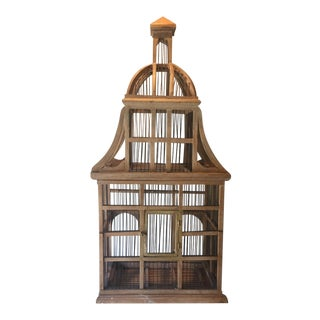 1960s Chinoiserie Decorative Wooden Birdcage