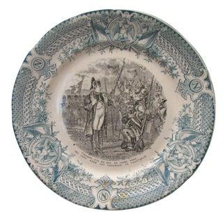 Antique Green Napoleon Transferware Plate For Sale