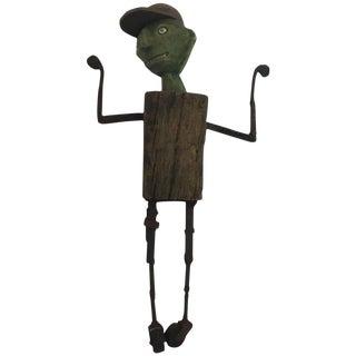 1980s Folk Art William Bill Skrips Sculpture of Boy With Baseball Hat For Sale