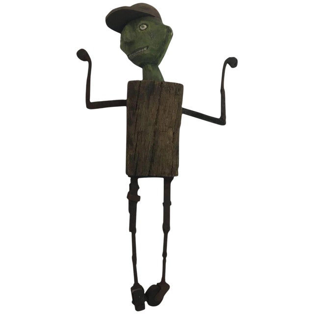 1980s Folk Art William Bill Skrips Sculpture of Boy With Baseball Hat For Sale