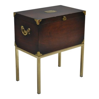 Lane Campaign Style Mahogany on Brass Stand Small Chest Box Side Table