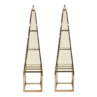 Pair of Modern Stainless Steel Obelisk Etageres For Sale