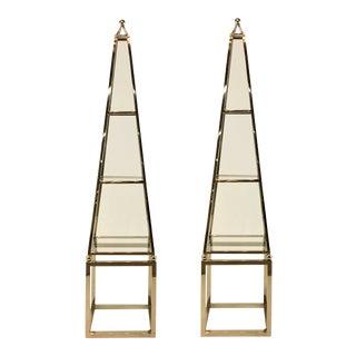 Pair of Modern Stainless Steel Obelisk Etageres For Sale