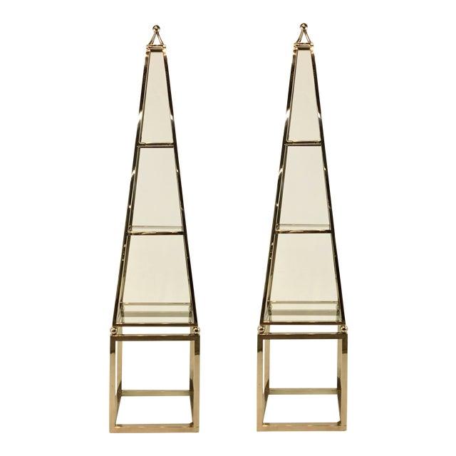 Image of Pair of Modern Stainless Steel Obelisk Etageres
