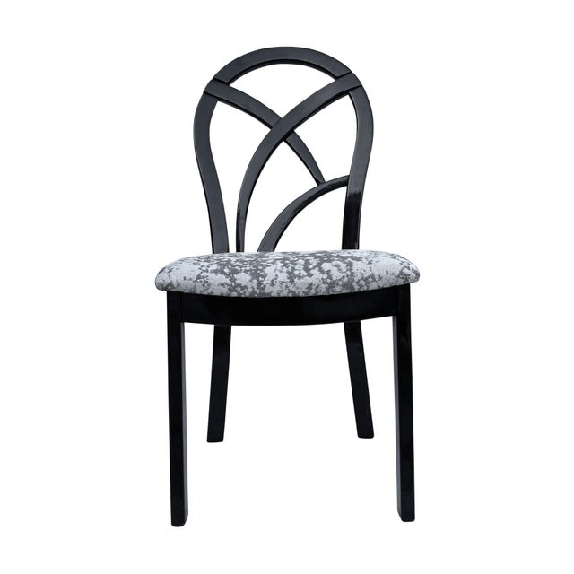 80's Italian Black Lacquer Art Deco Dining Chairs - Set of 4 For Sale - Image 4 of 7