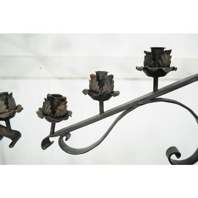 "61"" Pair of Antique Gothic Mission Arts & Crafts Wrought Iron Candelabras Church For Sale In Philadelphia - Image 6 of 11"