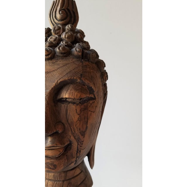 Wood Vintage Hand Carved Wooden Buddha Head For Sale - Image 7 of 9