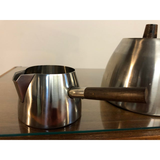 Silver Vintage Danish Stainless and Rosewood Coffee and Tea Set Made in Denmark by Lundtofte For Sale - Image 8 of 12
