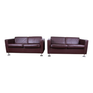 Stendig Leather Tuxedo Love Seats, Pair For Sale